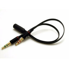 3.5mm 2 Male To Female Stereo Plug Audio Headset Mic Cable Splitter Adapter 20cm