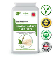 Psyllium Husks 90 Capsules 750mg Source of Natural Dietary Fibre UK Made Prowise