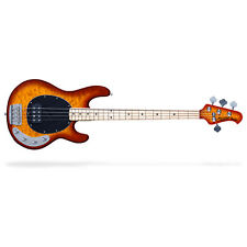 Sterling by Music Man Ray34 Quilt Maple 4-String Bass Guitar Honey Burst w/ Bag