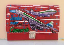 JUMBO 747 & CONCORDE VTG RED LEATHER PENCIL CASE