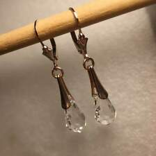 Sterling Silver Authentic Swarovski Crystal Elements Teardrop Dangle Earrings