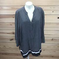Cynthia Rowley Shirt 2X Black White Geo Stripe V-neck Popover 3/4 Sleeve B79