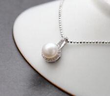 B06 Anhänger Kreis mit echter Süßwasser Perle Sterling Silber 925