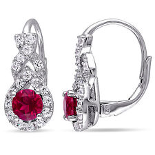 Amour Sterling Silver Created Ruby and Created White Sapphire Earrings