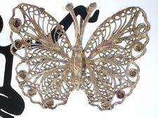 Plata de Ley Mariposa Filigrana Colgante Vintage 925 Joyería Diamante Corte