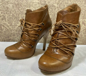 ANDREA Women's BROWN Leather Fashion Lace Up Ankle Stiletto Boots Size 5M US