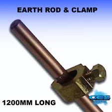 """3/8"""" EARTH ROD AND CLAMP 4 FOOT LONG 48"""" 1200MM COPPER-BRASS-MACHINE-CLAMP"""