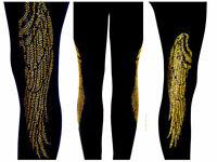 Plus Size Leggings Embellished Crystal /& Silver Rhinestone Biker Skull Wings