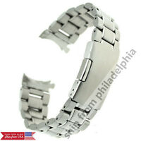 Curved End Stainless Steel Solid Links Watch Band Strap Bracelet 18 20 22 24mm