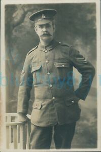 WW1 Army Pay Corps Soldier Sergeant  Studio photo leaning