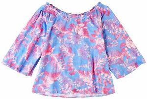 Stella Parker Womens Whimsical Ruffled Round Neck Top