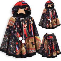 Hiver Femme Haut à capuche Matelassé Chaud Imprimer Coton Manteau Veste Plus