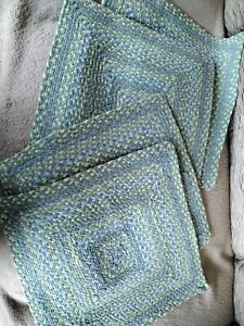 Blue And Green Woven Braided Square Placemats Kitchen Dining Set Of 4