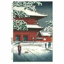Japan Vintage woodblock print Ukiyoe Zojo temple Kasamatsu Shiro Antique rare