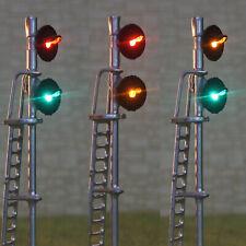 1 x HO scale searchlight interlocking signal block LED tricolor 2 heads silver