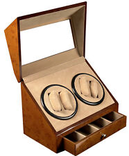 NEW WALNUT WOOD (4) + 4 AUTOMATIC DUAL DOUBLE QUAD WATCH WINDER DISPLAY BOX/CASE