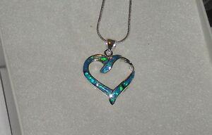 925 Sterling Silver Blue Opal Opal Heart Necklace 18 Sterling Snake Chain