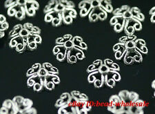 Wholesale 100pcs Retro Silver/Bronze Tone Flower Bead Caps Finding 8mm