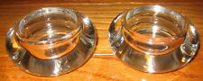 Set of Two Clear Glass Tealight Candle Holders Circular Rounded Edges