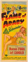 FLAME OF ARABY MOVIE POSTER 13x30 Inch AUSTRALIAN DAYBILL MAUREEN O'HARA 1951