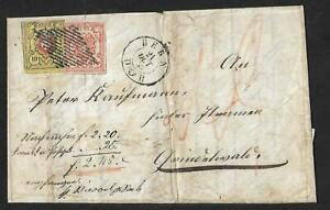 SWITZERLAND 25rp RATE DECLARED VALUE COVER 1853 SCARCE