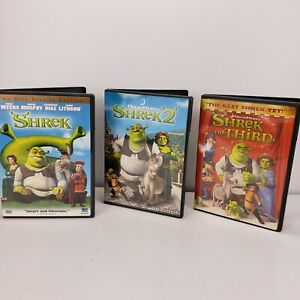 Shrek 1 DVD 2 Widescreen Shrek 2 DVD Full Screen  Shrek 3 WideScreen
