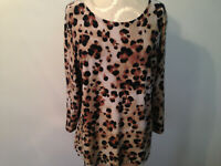 Black Brown Tan Animal Print JM COLLECTION Spandex Knit 3/4 Sleeve Top Size L