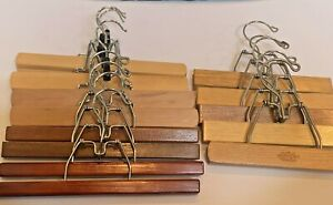 """Lot of 13 Wood Wooden Clamp Pants Jeans Skirt Clothes Hangers 9"""" and 11"""""""