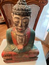 Antique Hand Carven Asian Wooden Buddha