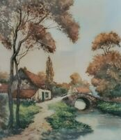 VTG Originial Belgian Aquatint Etching Signed Painting Stone Bridge Cottage