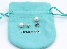 Tiffany & Co 18k White Gold Akoya Studs Pearl Earrings7.5-8.mm Pre-Owned
