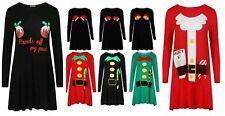 New Women Ladies Christmas ELF Santa Print Swing Skater Party Dress Top 8-26