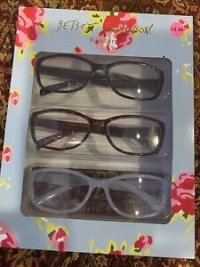 BETSEY JOHNSON 3 PAIR PREMIUM READING GLASSES READERS + 2.50 NEW AUTHENTIC
