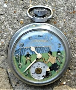 NO RESERVE c1950 Ingersoll Football Automaton Pocket Watch Vintage Antique