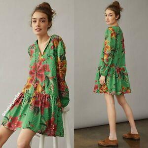 $198 FARM RIO x ANTHROPOLOGIE Jimena Tunic Dress Green Floral Sz XS NWT
