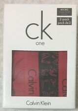 CK One Micro 2-Boxer Briefs Large 36-38  Red-Black Ck Design  NP2004  (5273)