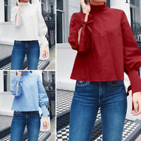 Size Womens Casual Loose Shirt Tops Ladies High Neck Long Sleeve Blouse Tee 8-26