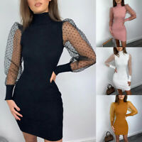 Womens Sexy Mesh Sheer Puff Long Sleeve Bodycon Ladies Party Mini Dress New 2 xi