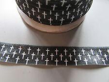 Cruz negro y blanco Doblado Elástico Cinta 1.6cm x 1 Metro Costura/Manualidades/