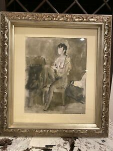 """Lev Meshberg """"Seated Nude"""" Watercolor - signed by the artist - size 13x16"""