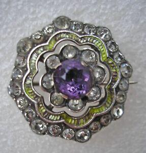 Pretty antique Victorian 935 Sterling Silver green enamel & paste stone brooch