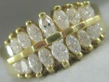 MODERN MARQUISE DIAMOND 14K GOLD WEDDING BAND DOUBLE ROW ANNIVERSARY RING CL#663
