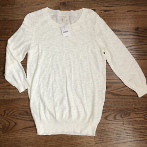 NEW NWT J CREW jcrew charley tippi textured cotton sweater white small S