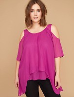 Lane Bryant Chiffon Cold-Shoulder Tunic Plus Size 14/16 18/20 22/24 26/28 NEW