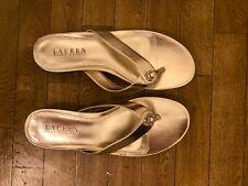 Ralph Lauren Karmina Platinum Metallic Thong Sandals 9 B