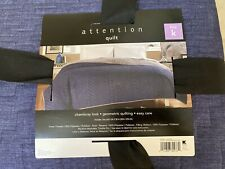 Attention Reversible Quilt Set King - Blue/Gray