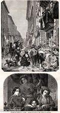 Roma: Carnevale Romano: 2 Scene. Costumi.Maschere.Mascherata. Stampa Antica.1860