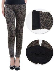 Lau-Fashion Warme Leo Thermo Damen Leggings Hose Winter Leopard Spitze S/M