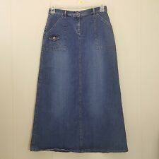 Ruff Hewn 6 Skirt Blue Jean Denim Long Modest Church Slit Pockets