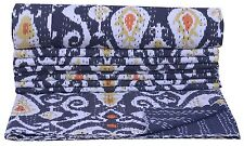 Indian Black Paisley Print Kantha Quilt Cotton Bedspread Bed cover Blanket Throw